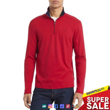 Load image into Gallery viewer, Calvin Klein Mens Sweater Red Quarter Zip Solid Liquid Touch