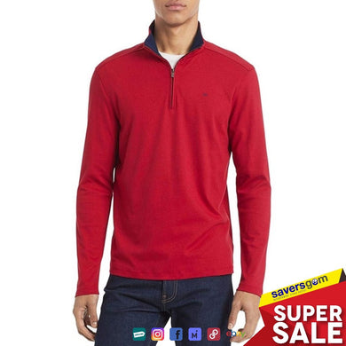 Calvin Klein Mens Sweater Red Quarter Zip Solid Liquid Touch