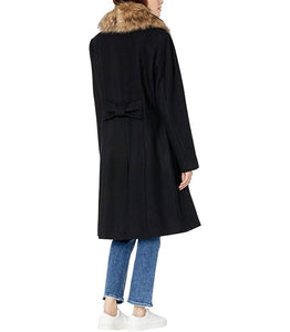 KATE SPADE New York - Fit-and-Flare Wool Coat With Faux Fur Collar, Black (M) LAST ACT!