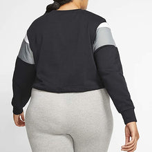 Load image into Gallery viewer, NIKE - Women's Sportswear Heritage Crop Crew Sweatshirt, Black/Grey (Plus Size 1X)
