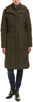 COLE HAAN - Women's Taffeta Down Coat With Bib Front and Dramatic Hood, Deep Forest (L)