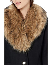 Load image into Gallery viewer, KATE SPADE New York - Fit-and-Flare Wool Coat With Faux Fur Collar, Black (M) LAST ACT!