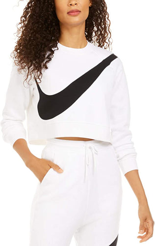 NIKE - Women's Sportswear Logo Oversize Crewneck Fleece Sweatshirt, White (Medium)