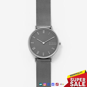 Skagen - Women's Hald Gunmetal Steel-Mesh Watch