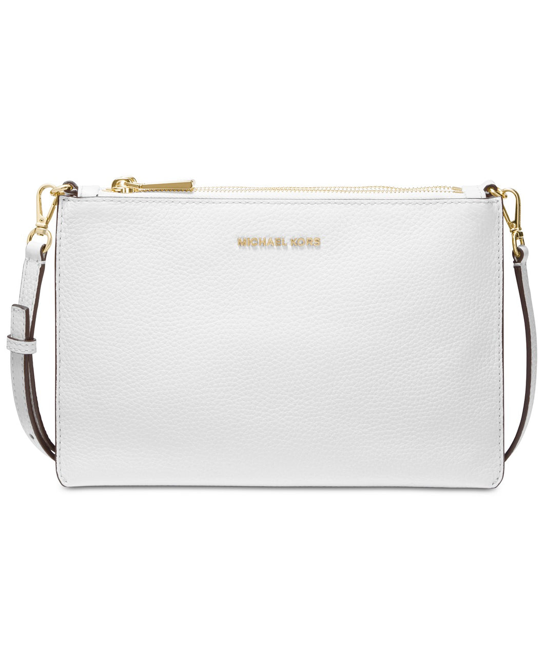 MICHAEL KORS - Pebble Leather Double Pouch Crossbody (Optic White)