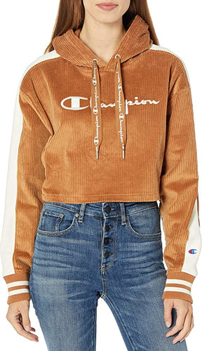 CHAMPION - Women's Corduroy Cropped Po Hood W/Reverse Weave, Brown Sepia (M,L,XL)