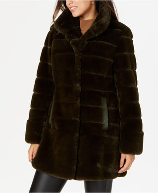 JONES NEW YORK - Stand-Collar Faux-Fur Coat, Dark Olive (L)