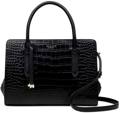 RADLEY LONDON - Liverpool Street Multiway Croc Embossed Leather Satchel (Black)
