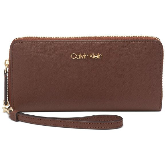 CALVIN KLEIN - Saffiano Leather Zip Continental Wallet (Walnut/gold)