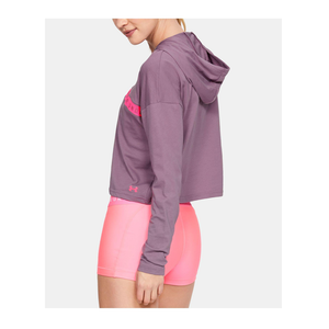 UNDER ARMOUR - Women's Logo Taped Cropped Hoodie, Purple Prime (XL)
