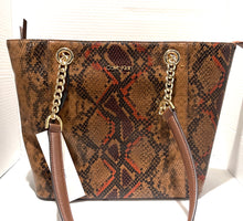 Load image into Gallery viewer, CALVIN KLEIN - Hayden Python Print Leather Spacious Tote (Walnut)