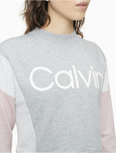 CALVIN KLEIN Performance - Colorblock Logo Mock Neck Cropped Sweatshirt (L,XL)