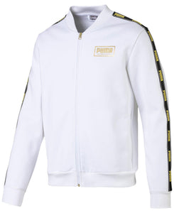 PUMA - Men's Logo Fleece Bomber Jacket, White (Size XXL)