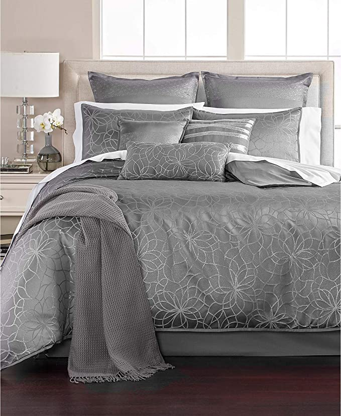 MARTHA STEWART - Collection Radiant Day 14 Piece Floral Comforter Set, Grey Silver (King)