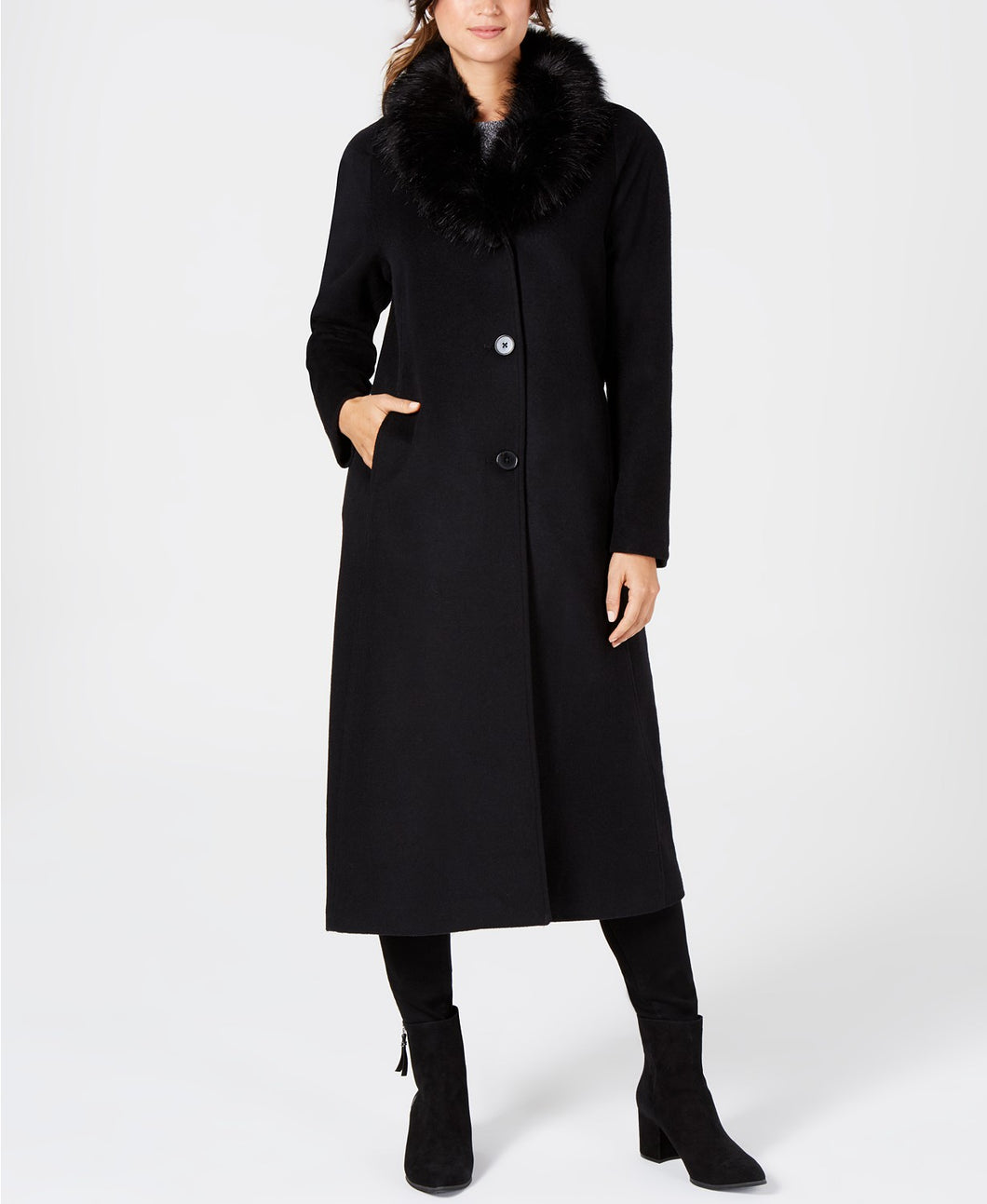 JONES NEW YORK - Faux Fur Collar Maxi Coat, Black (Size 6/S)