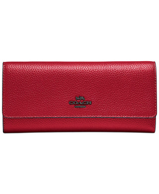 COACH - Soft Leather Trifold Wallet (Red Apple)