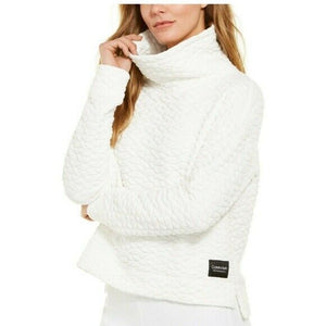 CALVIN KLEIN Performance - Quilted Jacquard Cowlneck Top Sweatshirt, Cloud (M)
