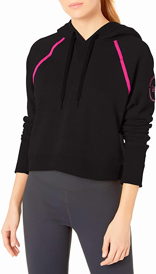 CALVIN KLEIN Performance - Women's Logo Long Sleeve Raglan Crop Pullover Hoodie, Black (M,3X)