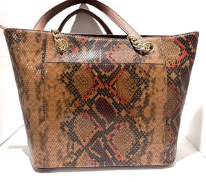 CALVIN KLEIN - Hayden Python Print Leather Spacious Tote (Walnut)
