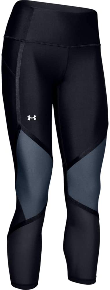 UNDER ARMOUR - Women's HeatGear Armour High Waisted Shine Ankle Crop, Black (XS,S)