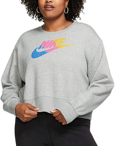 NIKE - Yoga Women's Long Sleeve Sweatshirt, Grey (Plus Size 1X)