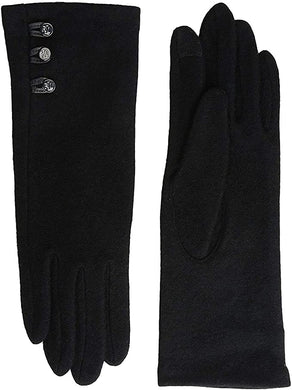 LAUREN RALPH LAUREN - Three-Button Touch Gloves, Black (L)