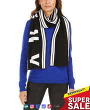 Load image into Gallery viewer, DKNY Striped Stadium Logo Scarf