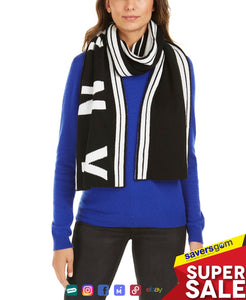 DKNY Striped Stadium Logo Scarf