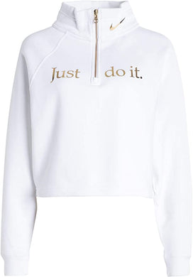 NIKE -  Nike Sports Wear Funnel 1/2 Zip Shine Sweatshirt, White (M,L)