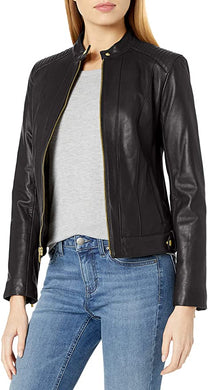COLE HAAN -  Women's Leather Racer Jacket With Quilted Shoulders, Black (XS)