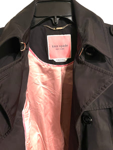 KATE SPADE - Double-Breasted Belted Trench Coat, Black (S)