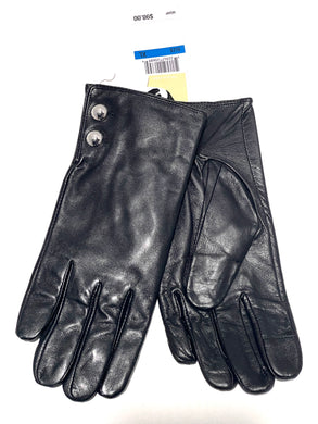 MICHAEL KORS - Women's Genuine Leather Tech Gloves, Black (XL)