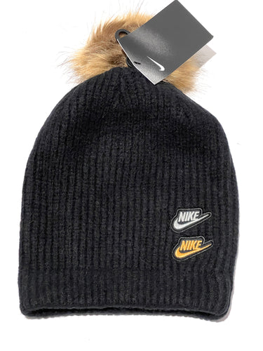 NIKE - Women's Knit Pom Beanie, Black (O/S)