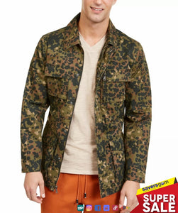 INC International Concepts - Men's Field Jacket Green Black Camo Print Jesse
