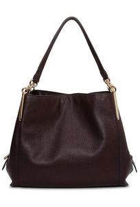 COACH - Polished Pebble Leather Dalton 31 Hobo Shoulder Bag Oxblood Brown Red