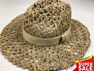 Aqua - Women's 100% Straw Hat - Made in Italy