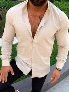 Men's Solid Blouse Shirt Tops