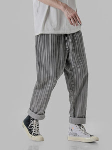 Men's Striped Straight Leg Casual Pants