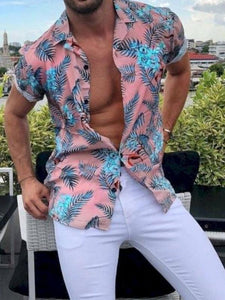 Men Short Sleeves Lapel Printed Shirt