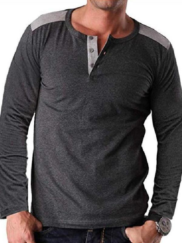Men Casual Splicing Polo Top