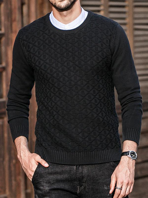 Men Round Neck Solid Sweater Tops