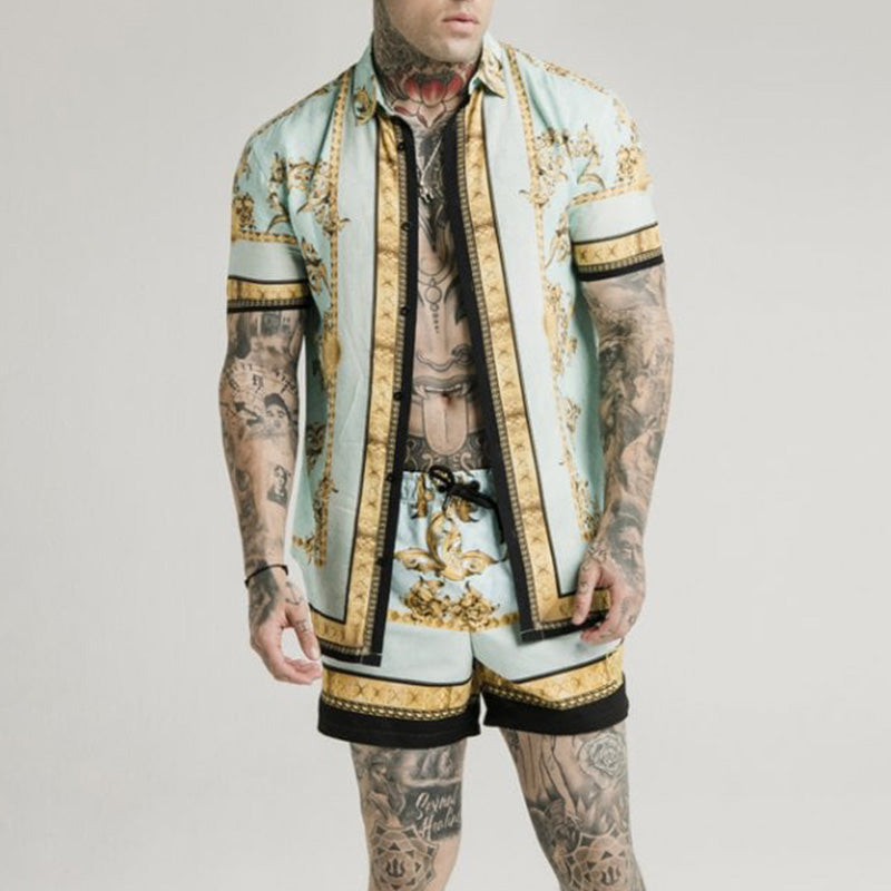 Men Printed Casual Outfit Two-Piece Suits