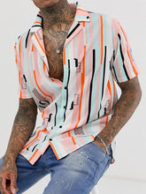 Load image into Gallery viewer, Men Short Sleeves Revere Printed Shirt