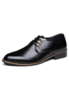 Men Fashion Lace-up Pointed Leather Shoes