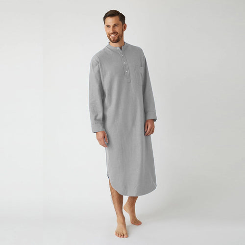 Fashion Nightgown Long-Sleeved Button Solid Color Muslim Robe