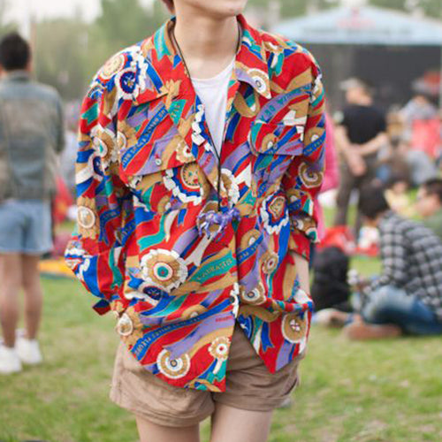 Men Color Striped Festival Blouses&Shirts Tops