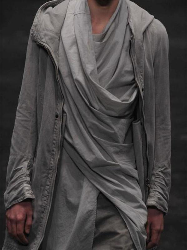 Men Shawl Collar Asymmetric Shirt