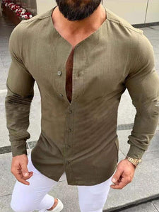 Long Sleeves Solid Stand Collar Shirts