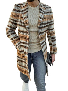 Man Stripe Lapel Cardigan Coat