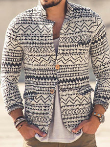 Men Casual Knitted Printing Outerwear